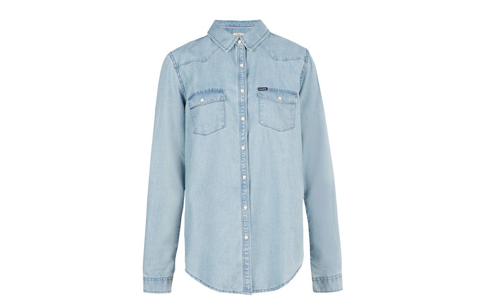 Denim Shirt - neckline: shirt collar/peter pan/zip with opening; pattern: plain; style: shirt; predominant colour: pale blue; occasions: casual, creative work; length: standard; fibres: cotton - stretch; fit: body skimming; sleeve length: long sleeve; sleeve style: standard; texture group: denim; pattern type: fabric; season: s/s 2015; wardrobe: basic