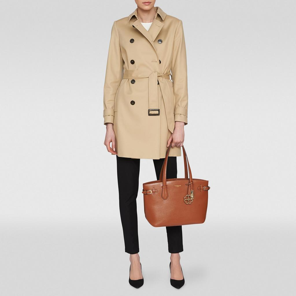 Oston Trench Coat - pattern: plain; style: trench coat; collar: standard lapel/rever collar; length: mid thigh; predominant colour: camel; occasions: casual, work, creative work; fit: tailored/fitted; fibres: cotton - mix; waist detail: belted waist/tie at waist/drawstring; sleeve length: long sleeve; sleeve style: standard; texture group: cotton feel fabrics; collar break: medium; pattern type: fabric; season: s/s 2015; wardrobe: basic