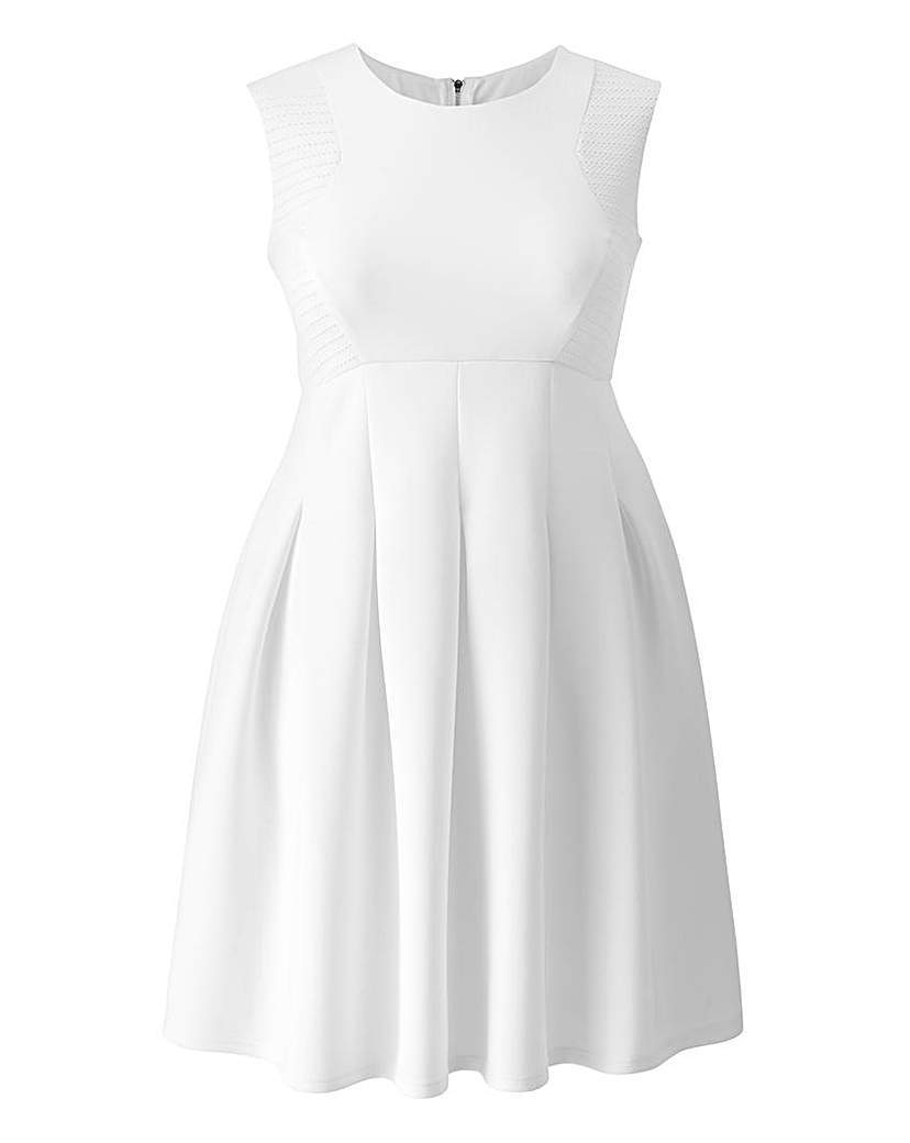 Grazia Textured Skater Dress - length: mid thigh; pattern: plain; sleeve style: sleeveless; predominant colour: white; occasions: evening; fit: fitted at waist & bust; style: fit & flare; fibres: polyester/polyamide - stretch; neckline: crew; sleeve length: sleeveless; pattern type: fabric; texture group: jersey - stretchy/drapey; season: s/s 2015; wardrobe: event