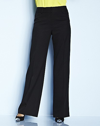 Pack Of 2 Wide Leg Trousers Length 32in - length: standard; pattern: plain; waist: mid/regular rise; predominant colour: black; occasions: work, creative work; fibres: polyester/polyamide - 100%; fit: wide leg; texture group: woven light midweight; style: standard; season: s/s 2015