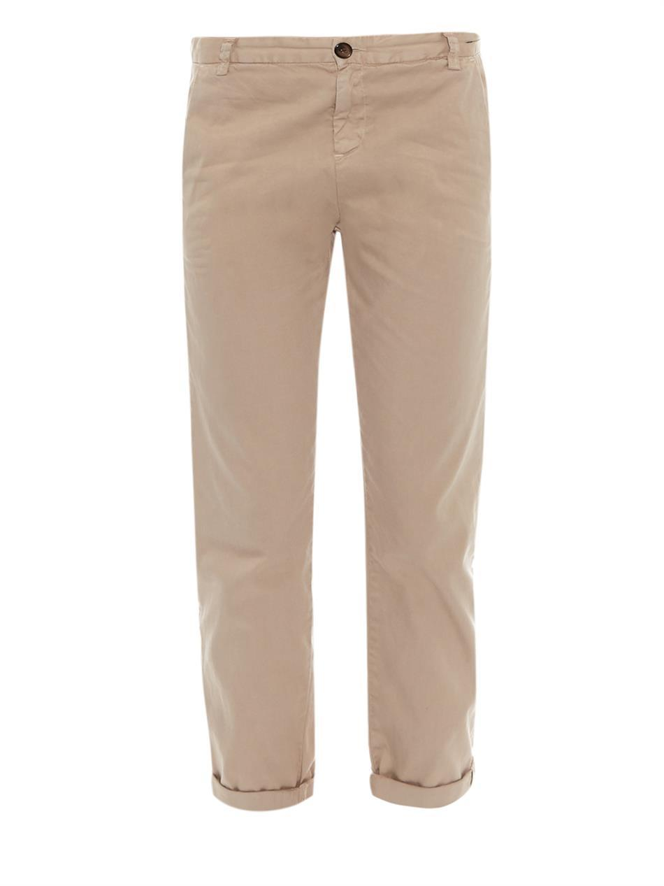 The Captain Mid Rise Straight Chinos - pattern: plain; waist: mid/regular rise; predominant colour: camel; occasions: casual, creative work; length: ankle length; style: chino; fibres: cotton - stretch; jeans & bottoms detail: turn ups; fit: straight leg; pattern type: fabric; texture group: woven light midweight; season: s/s 2015; wardrobe: basic