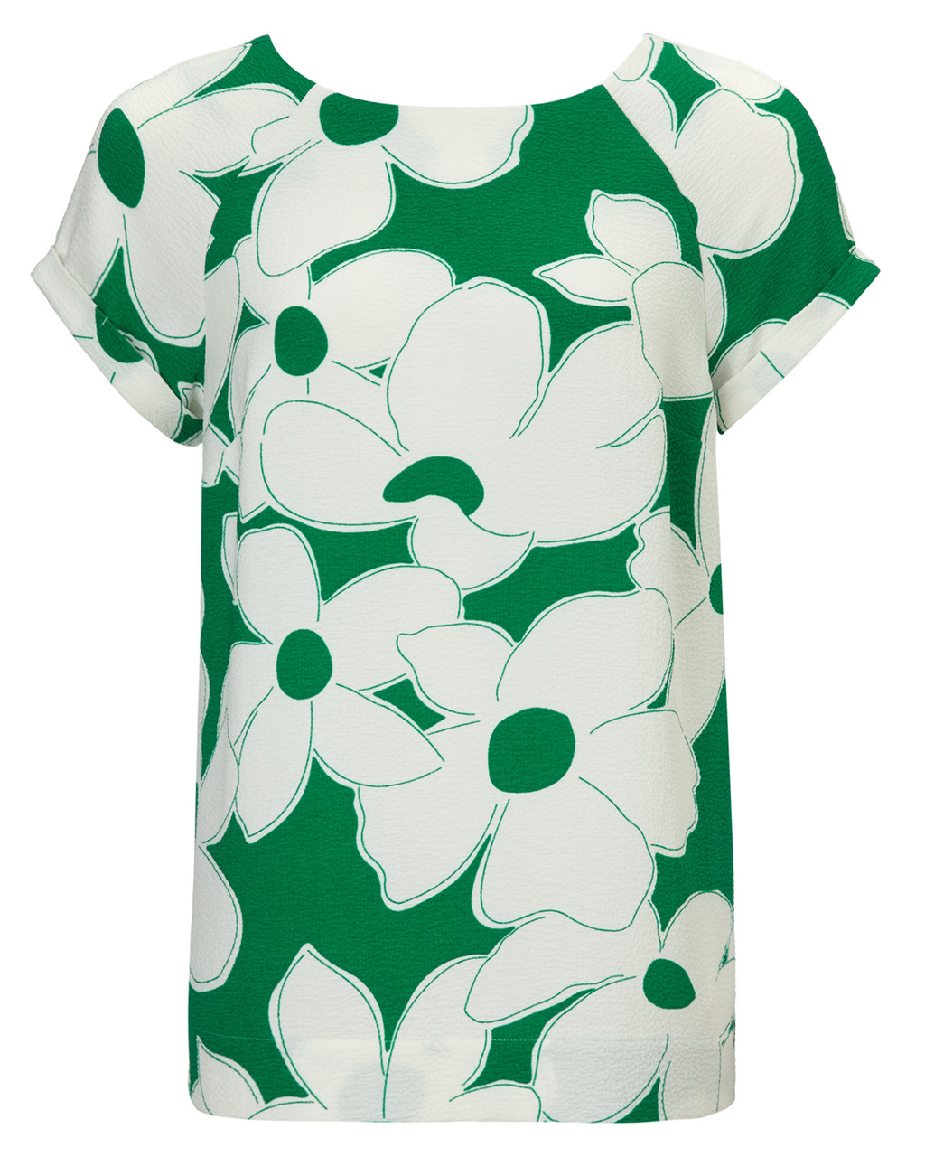 Frances Floral Crepe Blouse - secondary colour: white; predominant colour: emerald green; occasions: casual, creative work; length: standard; style: top; fit: straight cut; neckline: crew; sleeve length: short sleeve; sleeve style: standard; texture group: crepes; pattern type: fabric; pattern: florals; season: s/s 2015; pattern size: big & busy (top); wardrobe: highlight