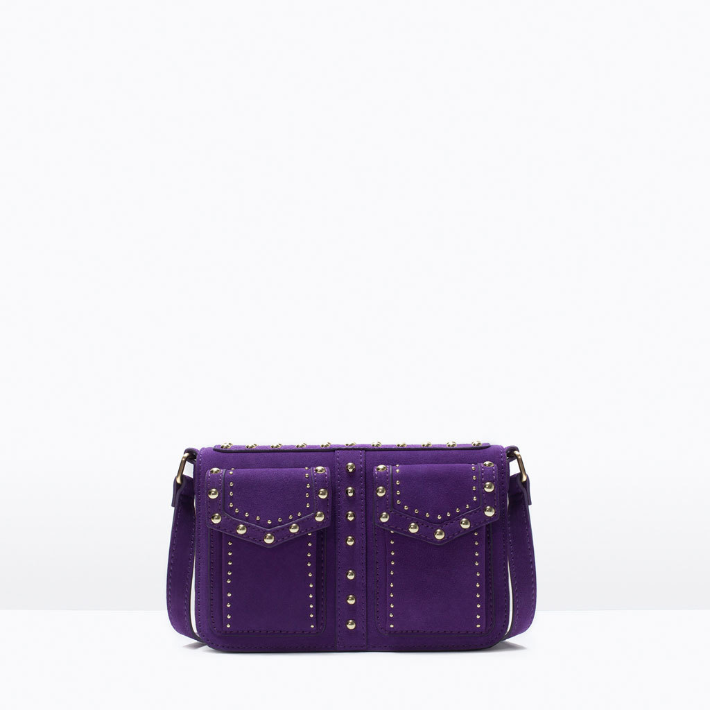 Studded Messenger Bag - predominant colour: purple; occasions: casual, evening; type of pattern: standard; style: clutch; length: across body/long; size: small; material: faux leather; embellishment: studs; pattern: plain; finish: plain; season: s/s 2015; wardrobe: highlight