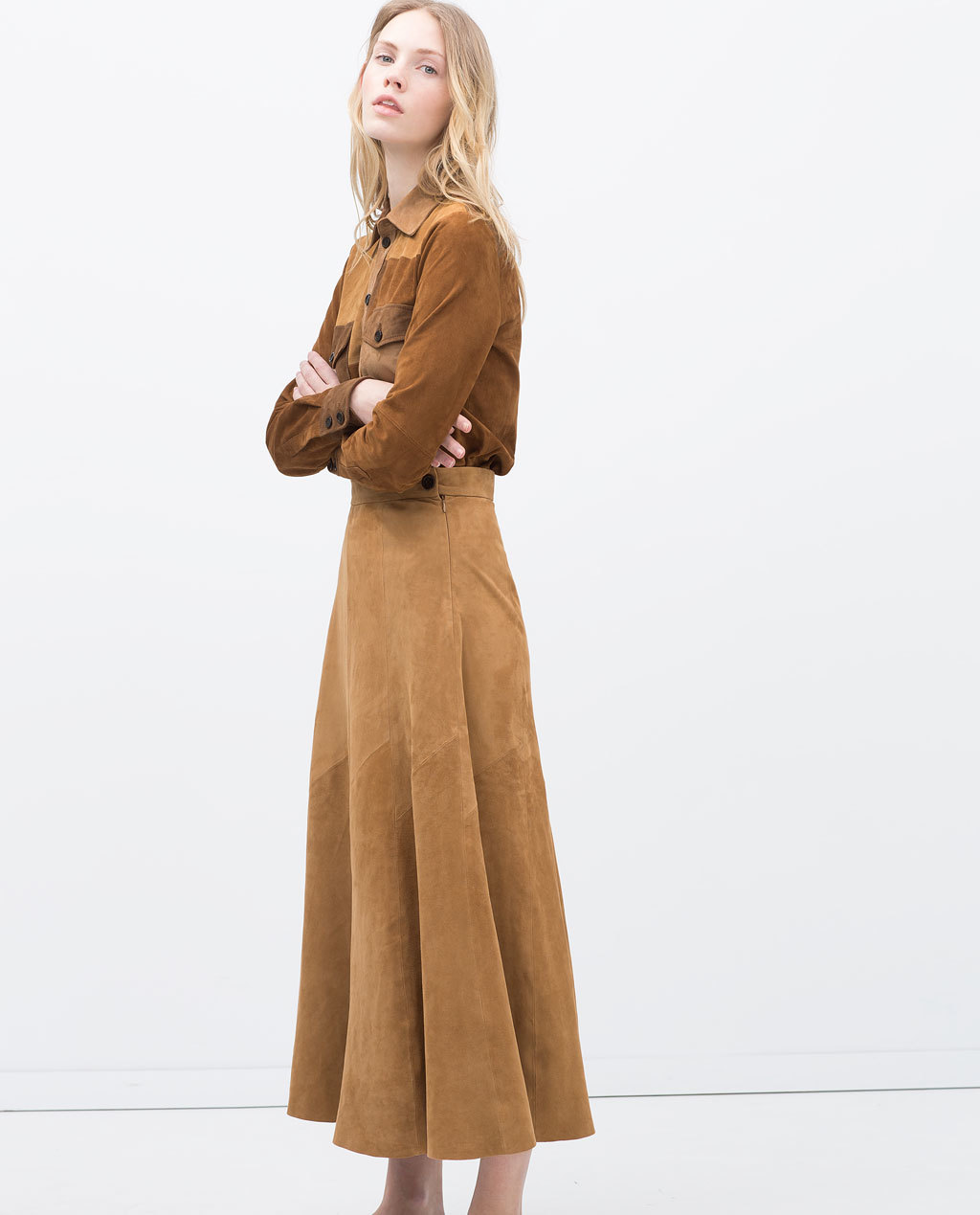 Long Suede Skirt - pattern: plain; length: ankle length; fit: loose/voluminous; waist: high rise; predominant colour: camel; occasions: casual, evening, creative work; style: a-line; fibres: leather - 100%; pattern type: fabric; texture group: suede; season: s/s 2015