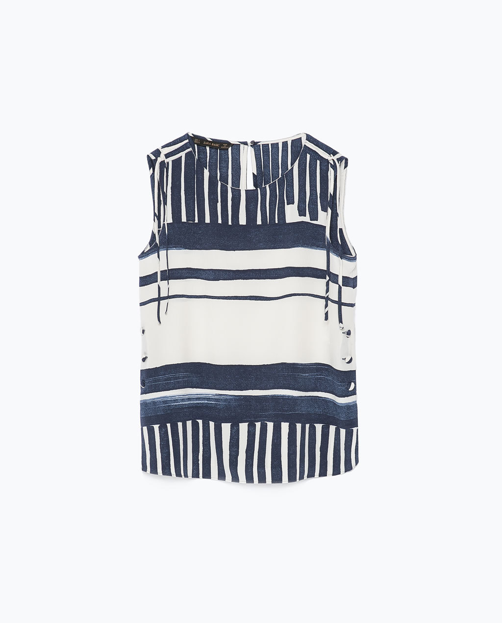 Striped Top - sleeve style: sleeveless; pattern: striped; secondary colour: ivory/cream; predominant colour: navy; occasions: casual, holiday, creative work; length: standard; style: top; fibres: polyester/polyamide - 100%; fit: straight cut; neckline: crew; sleeve length: sleeveless; pattern type: fabric; pattern size: standard; texture group: woven light midweight; season: s/s 2015; wardrobe: highlight
