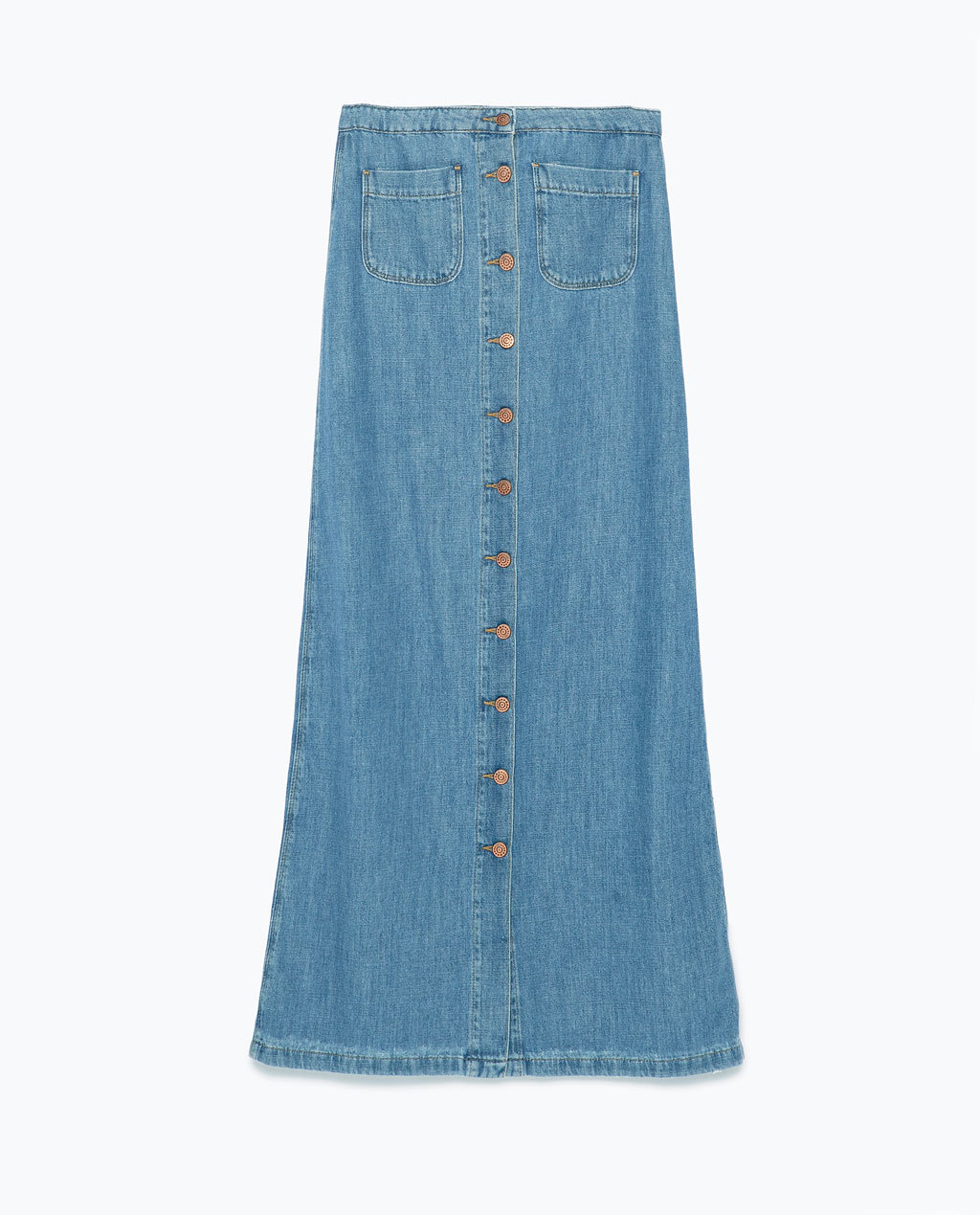 Long Denim Skirt - pattern: plain; fit: loose/voluminous; waist: high rise; predominant colour: denim; occasions: casual; length: floor length; style: maxi skirt; fibres: cotton - 100%; texture group: denim; pattern type: fabric; season: s/s 2015; wardrobe: basic