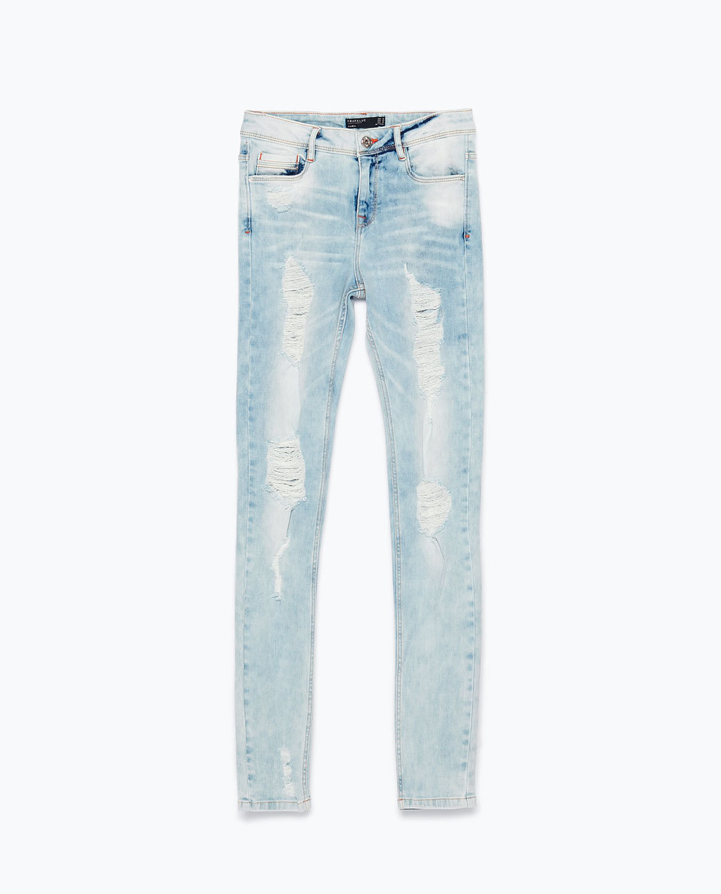 Ripped Skinny Jeans - style: skinny leg; length: standard; pattern: plain; pocket detail: traditional 5 pocket; waist: mid/regular rise; predominant colour: pale blue; occasions: casual; fibres: cotton - stretch; jeans & bottoms detail: turn ups; texture group: denim; pattern type: fabric; jeans detail: rips; season: s/s 2015; wardrobe: basic