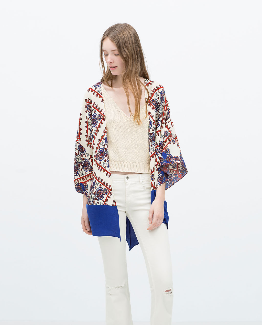 Printed Kimono - collar: round collar/collarless; fit: loose; length: below the bottom; predominant colour: white; secondary colour: royal blue; occasions: casual, creative work; fibres: viscose/rayon - 100%; sleeve length: 3/4 length; sleeve style: standard; collar break: low/open; pattern type: fabric; pattern: patterned/print; texture group: woven light midweight; style: fluid/kimono; season: s/s 2015; multicoloured: multicoloured; wardrobe: highlight