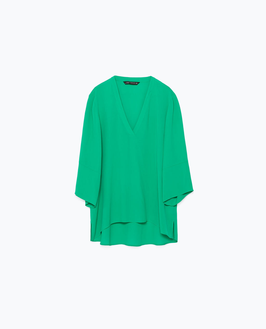 Uneven Hem Top - neckline: low v-neck; sleeve style: dolman/batwing; pattern: plain; length: below the bottom; style: blouse; predominant colour: emerald green; occasions: casual, evening, creative work; fibres: polyester/polyamide - 100%; fit: loose; sleeve length: 3/4 length; texture group: crepes; pattern type: fabric; season: s/s 2015; wardrobe: highlight