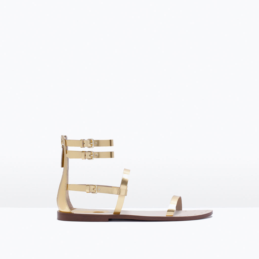 Flat Sole Patent Sandal - predominant colour: gold; occasions: casual, holiday; material: faux leather; heel height: flat; ankle detail: ankle strap; heel: standard; toe: open toe/peeptoe; style: strappy; finish: metallic; pattern: plain; season: s/s 2015; wardrobe: basic