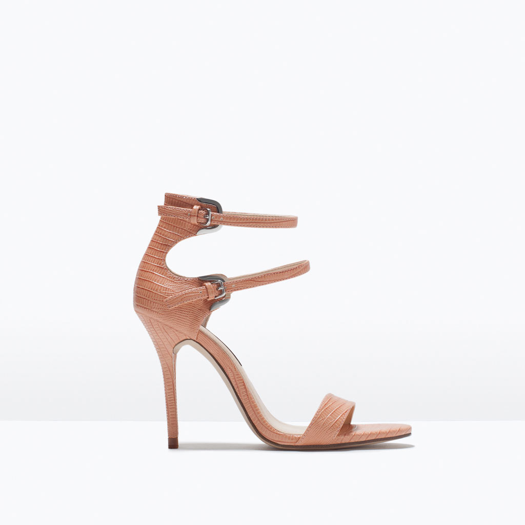 Double Strap Heeled Sandals - predominant colour: camel; occasions: evening, occasion; material: faux leather; ankle detail: ankle strap; heel: stiletto; toe: open toe/peeptoe; style: strappy; finish: plain; pattern: plain; heel height: very high; season: s/s 2015; wardrobe: event