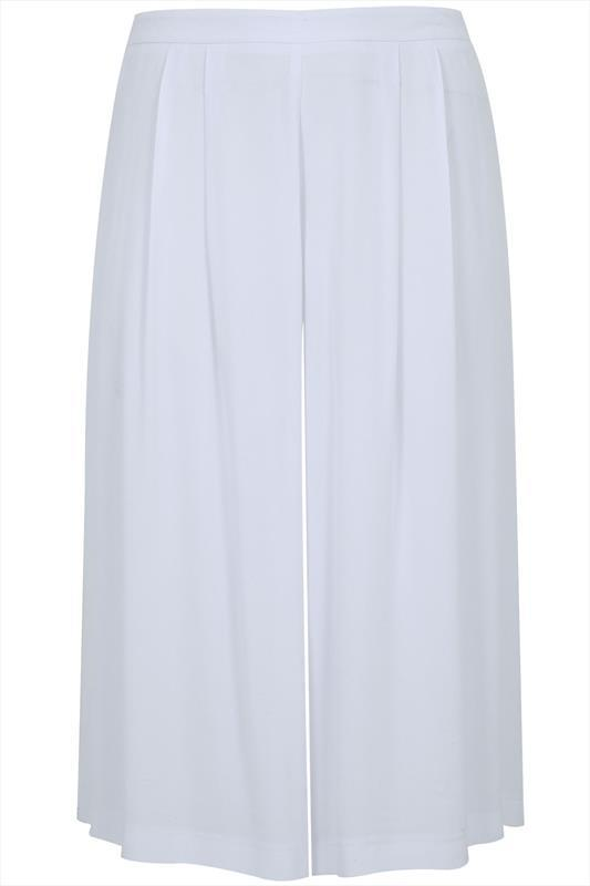 White Crinkle Viscose Culottes With Half Elasticated Waist - pattern: plain; waist: high rise; predominant colour: white; occasions: casual, creative work; fibres: viscose/rayon - 100%; pattern type: fabric; texture group: other - light to midweight; season: s/s 2015; wardrobe: basic; style: culotte; length: below the knee; fit: a-line