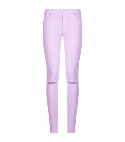 The Skinny Pastel Jeans - style: skinny leg; length: standard; pattern: plain; pocket detail: traditional 5 pocket; waist: mid/regular rise; predominant colour: lilac; occasions: casual, creative work; fibres: cotton - stretch; texture group: denim; pattern type: fabric; season: s/s 2015; wardrobe: highlight