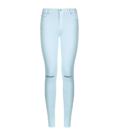 The Skinny Pastel Jeans - style: skinny leg; length: standard; pattern: plain; pocket detail: traditional 5 pocket; waist: mid/regular rise; predominant colour: pale blue; occasions: casual, creative work; fibres: cotton - stretch; texture group: denim; pattern type: fabric; jeans detail: rips; season: s/s 2015; wardrobe: basic