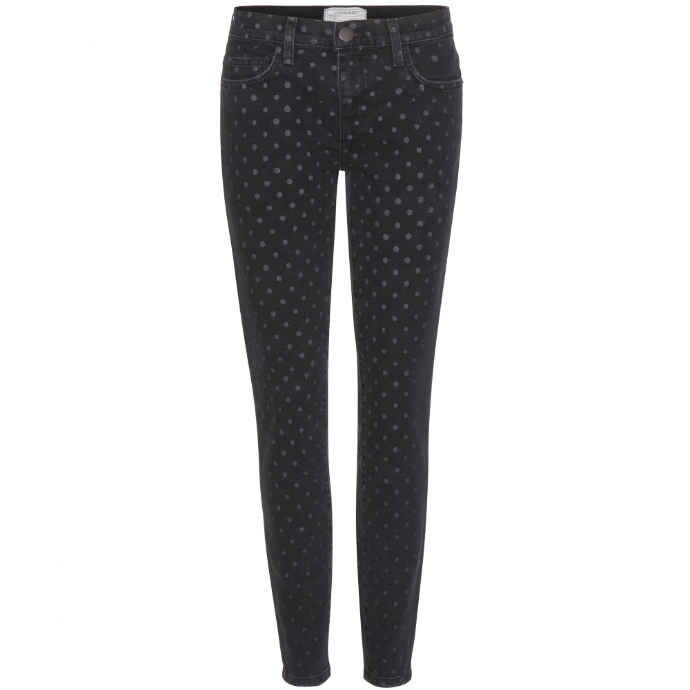 Polka Dot Skinny Jeans - style: skinny leg; length: standard; pattern: polka dot; pocket detail: traditional 5 pocket; waist: mid/regular rise; secondary colour: nude; predominant colour: black; occasions: casual, creative work; fibres: cotton - stretch; texture group: denim; pattern type: fabric; season: s/s 2015; multicoloured: multicoloured; wardrobe: highlight