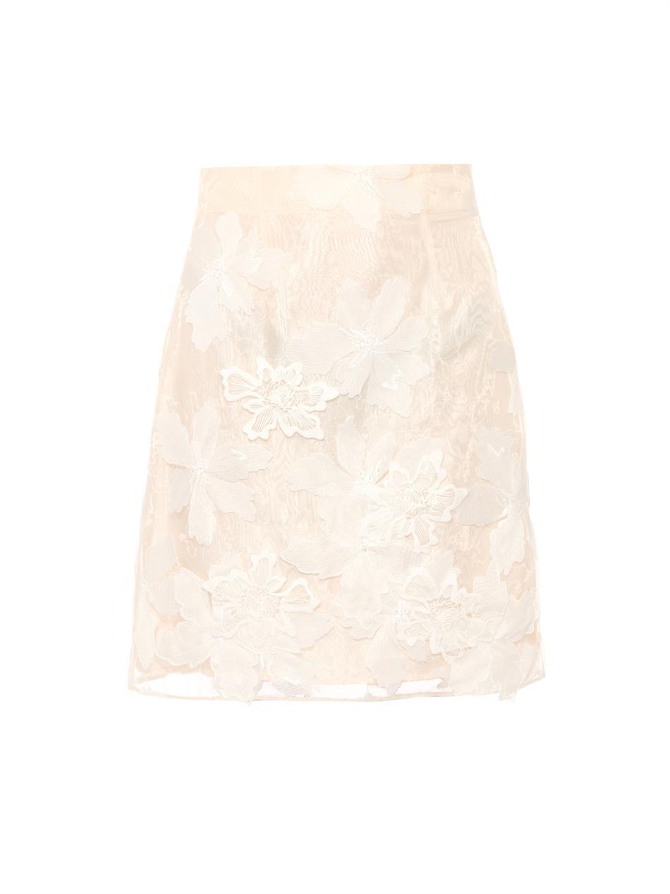 Floral Embroidered Organza Skirt - length: mid thigh; fit: loose/voluminous; waist: high rise; predominant colour: ivory/cream; occasions: evening, occasion; style: a-line; texture group: sheer fabrics/chiffon/organza etc.; pattern type: fabric; pattern: florals; embellishment: embroidered; season: s/s 2015; pattern size: light/subtle (bottom); wardrobe: event