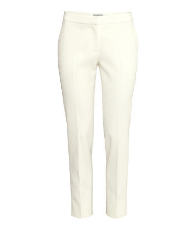 Suit Trousers - pattern: plain; style: capri; waist: mid/regular rise; predominant colour: ivory/cream; occasions: evening, creative work; length: ankle length; fibres: polyester/polyamide - stretch; fit: slim leg; pattern type: fabric; texture group: woven light midweight; season: s/s 2015; wardrobe: basic