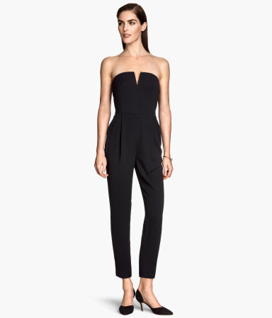 Strapless Jumpsuit - neckline: strapless (straight/sweetheart); fit: tailored/fitted; pattern: plain; sleeve style: strapless; back detail: back revealing; predominant colour: black; occasions: evening; length: ankle length; fibres: polyester/polyamide - 100%; sleeve length: sleeveless; texture group: crepes; style: jumpsuit; pattern type: fabric; season: s/s 2015; wardrobe: event