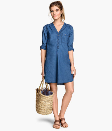 Tunic In A Linen Blend - style: shirt; length: mid thigh; neckline: v-neck; pattern: plain; predominant colour: navy; occasions: casual; fit: straight cut; fibres: linen - mix; sleeve length: long sleeve; sleeve style: standard; texture group: linen; pattern type: fabric; season: s/s 2015; wardrobe: basic