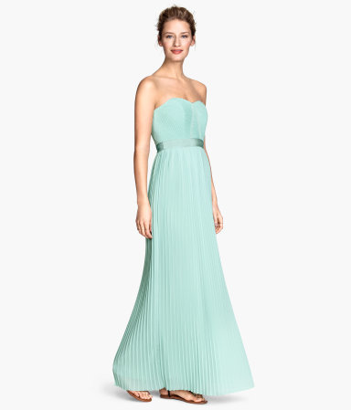 Long Bandeau Dress - neckline: strapless (straight/sweetheart); pattern: plain; style: maxi dress; sleeve style: strapless; bust detail: subtle bust detail; predominant colour: mint green; length: floor length; fit: fitted at waist & bust; fibres: polyester/polyamide - 100%; occasions: occasion; sleeve length: sleeveless; texture group: sheer fabrics/chiffon/organza etc.; pattern type: fabric; season: s/s 2015; wardrobe: event