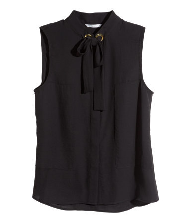 Sleeveless Blouse - pattern: plain; sleeve style: sleeveless; style: blouse; predominant colour: black; occasions: casual, creative work; length: standard; neckline: collarstand; fibres: polyester/polyamide - 100%; fit: straight cut; sleeve length: sleeveless; texture group: other - light to midweight; season: s/s 2015; wardrobe: basic