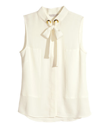 Sleeveless Blouse - pattern: plain; sleeve style: sleeveless; style: blouse; predominant colour: ivory/cream; occasions: casual, creative work; length: standard; neckline: collarstand; fibres: polyester/polyamide - 100%; fit: straight cut; sleeve length: sleeveless; texture group: sheer fabrics/chiffon/organza etc.; season: s/s 2015