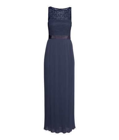 Long Pleated Dress - neckline: round neck; pattern: plain; sleeve style: sleeveless; style: maxi dress; predominant colour: navy; length: floor length; fit: body skimming; fibres: polyester/polyamide - 100%; occasions: occasion; sleeve length: sleeveless; texture group: sheer fabrics/chiffon/organza etc.; pattern type: fabric; embellishment: lace; shoulder detail: sheer at shoulder; season: s/s 2015; wardrobe: event; embellishment location: shoulder