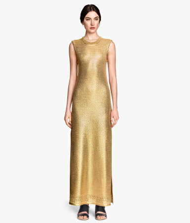Dress In A Silk Blend - pattern: plain; sleeve style: sleeveless; style: maxi dress; length: ankle length; predominant colour: gold; fit: body skimming; fibres: silk - mix; occasions: occasion; neckline: crew; sleeve length: sleeveless; texture group: knits/crochet; pattern type: knitted - big stitch; season: s/s 2015; wardrobe: event