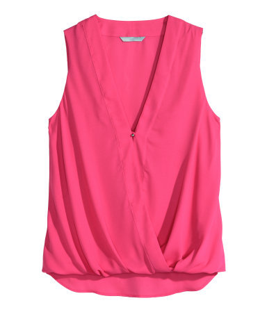 Draped Blouse - neckline: low v-neck; pattern: plain; sleeve style: sleeveless; predominant colour: hot pink; occasions: casual; length: standard; style: top; fibres: polyester/polyamide - 100%; fit: loose; sleeve length: sleeveless; texture group: cotton feel fabrics; pattern type: fabric; season: s/s 2015; wardrobe: highlight