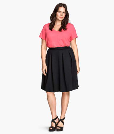 + Flared Skirt - pattern: plain; style: full/prom skirt; fit: loose/voluminous; waist: high rise; predominant colour: black; occasions: evening, creative work; length: on the knee; fibres: polyester/polyamide - mix; hip detail: adds bulk at the hips; pattern type: fabric; texture group: other - light to midweight; season: s/s 2015; wardrobe: basic