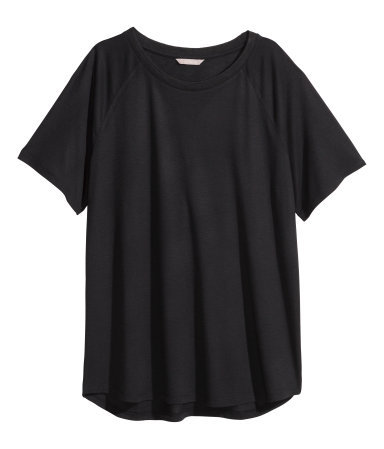 + Top With Raglan Sleeves - pattern: plain; style: t-shirt; predominant colour: black; occasions: casual, creative work; length: standard; fibres: polyester/polyamide - mix; fit: loose; neckline: crew; sleeve length: short sleeve; sleeve style: standard; pattern type: fabric; texture group: jersey - stretchy/drapey; season: s/s 2015; wardrobe: basic