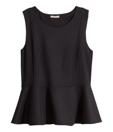 + Sleeveless Peplum Top - pattern: plain; sleeve style: sleeveless; waist detail: peplum waist detail; predominant colour: black; occasions: evening; length: standard; style: top; fibres: polyester/polyamide - 100%; fit: body skimming; neckline: crew; sleeve length: sleeveless; texture group: crepes; pattern type: fabric; season: s/s 2015; wardrobe: event