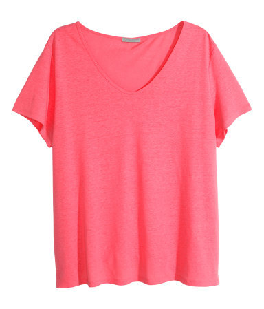 + Top In A Linen Blend - neckline: v-neck; pattern: plain; length: below the bottom; style: t-shirt; predominant colour: hot pink; occasions: casual, creative work; fibres: linen - mix; fit: loose; sleeve length: short sleeve; sleeve style: standard; pattern type: fabric; texture group: jersey - stretchy/drapey; season: s/s 2015; wardrobe: highlight
