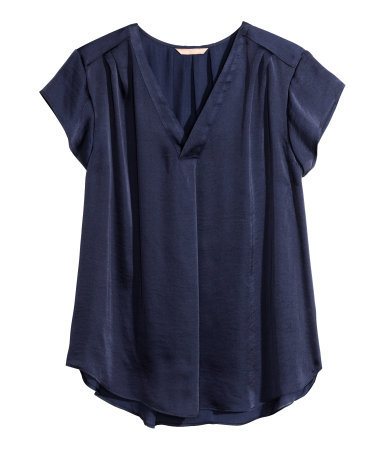 + V Neck Blouse - neckline: v-neck; sleeve style: capped; pattern: plain; style: blouse; predominant colour: navy; occasions: casual, creative work; length: standard; fibres: polyester/polyamide - 100%; fit: straight cut; sleeve length: short sleeve; pattern type: fabric; texture group: other - light to midweight; season: s/s 2015; wardrobe: basic