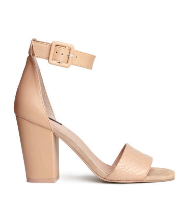 Leather Sandals - predominant colour: nude; occasions: casual, creative work; material: leather; heel height: high; ankle detail: ankle strap; heel: block; toe: open toe/peeptoe; style: standard; finish: plain; pattern: plain; season: s/s 2015; wardrobe: investment