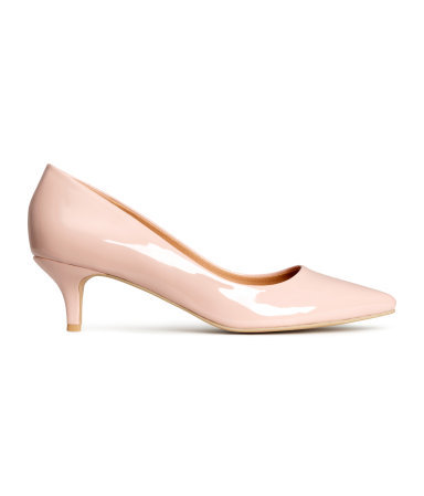Court Shoes With A Kitten Heel - predominant colour: blush; occasions: evening, occasion; material: faux leather; heel height: mid; heel: kitten; toe: pointed toe; style: courts; finish: patent; pattern: plain; season: s/s 2015; wardrobe: event