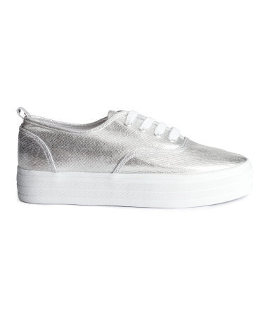 Platform Sneakers - secondary colour: white; predominant colour: silver; occasions: casual, creative work; material: fabric; heel height: flat; toe: round toe; style: trainers; finish: metallic; pattern: plain; shoe detail: platform; season: s/s 2015; wardrobe: highlight