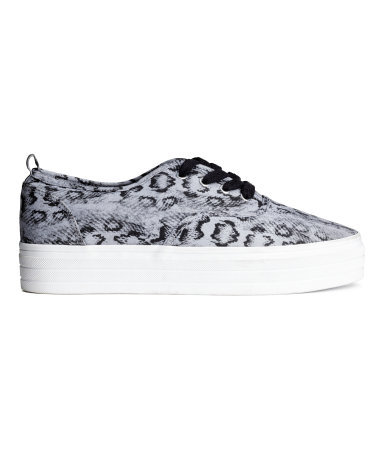 Platform Sneakers - predominant colour: light grey; secondary colour: black; occasions: casual, creative work; material: fabric; heel height: flat; toe: round toe; style: trainers; finish: plain; pattern: animal print; shoe detail: platform; season: s/s 2015