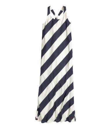 Long Jersey Dress - sleeve style: standard vest straps/shoulder straps; fit: loose; style: maxi dress; pattern: striped; length: ankle length; secondary colour: white; predominant colour: navy; occasions: casual; neckline: scoop; fibres: cotton - 100%; back detail: crossover; sleeve length: sleeveless; pattern type: fabric; pattern size: big & busy; texture group: jersey - stretchy/drapey; season: s/s 2015; wardrobe: highlight