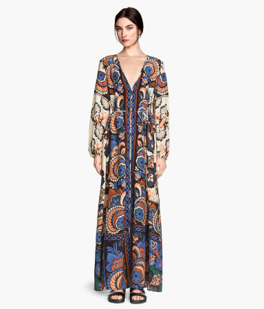 Patterned Dress - neckline: low v-neck; fit: loose; style: kaftan; length: ankle length; pattern: paisley; sleeve style: balloon; predominant colour: royal blue; occasions: casual, evening; fibres: viscose/rayon - 100%; sleeve length: long sleeve; pattern type: fabric; pattern size: big & busy; texture group: other - light to midweight; season: s/s 2015; multicoloured: multicoloured