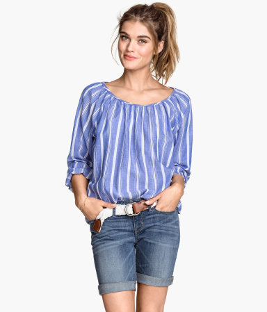 Cotton Blouse - neckline: round neck; pattern: vertical stripes; style: blouse; secondary colour: white; predominant colour: pale blue; occasions: casual; length: standard; fibres: cotton - 100%; fit: loose; sleeve length: 3/4 length; sleeve style: standard; texture group: cotton feel fabrics; pattern type: fabric; season: s/s 2015; multicoloured: multicoloured
