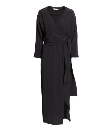 Wrap Dress - style: faux wrap/wrap; neckline: v-neck; fit: loose; pattern: plain; length: ankle length; waist detail: belted waist/tie at waist/drawstring; predominant colour: black; occasions: casual, evening; fibres: viscose/rayon - 100%; sleeve length: long sleeve; sleeve style: standard; pattern type: fabric; texture group: woven light midweight; season: s/s 2015; wardrobe: basic