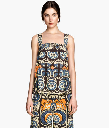 Patterned Top - sleeve style: standard vest straps/shoulder straps; style: camisole; predominant colour: denim; occasions: casual; length: standard; fibres: viscose/rayon - 100%; fit: body skimming; sleeve length: sleeveless; texture group: cotton feel fabrics; neckline: medium square neck; pattern type: fabric; pattern: patterned/print; season: s/s 2015; multicoloured: multicoloured
