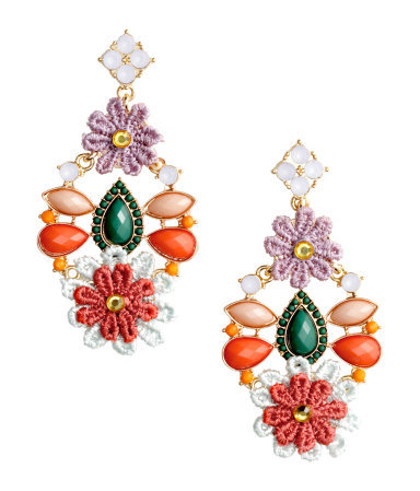Long Earrings - predominant colour: coral; occasions: evening, occasion; style: chandelier; length: long; size: large/oversized; material: chain/metal; fastening: pierced; finish: metallic; embellishment: jewels/stone; season: s/s 2015; multicoloured: multicoloured; wardrobe: event