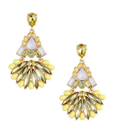 Earrings With Sparkly Stones - predominant colour: primrose yellow; secondary colour: pistachio; occasions: evening, occasion; style: chandelier; length: long; size: large/oversized; material: chain/metal; fastening: pierced; finish: metallic; embellishment: jewels/stone; season: s/s 2015; wardrobe: event