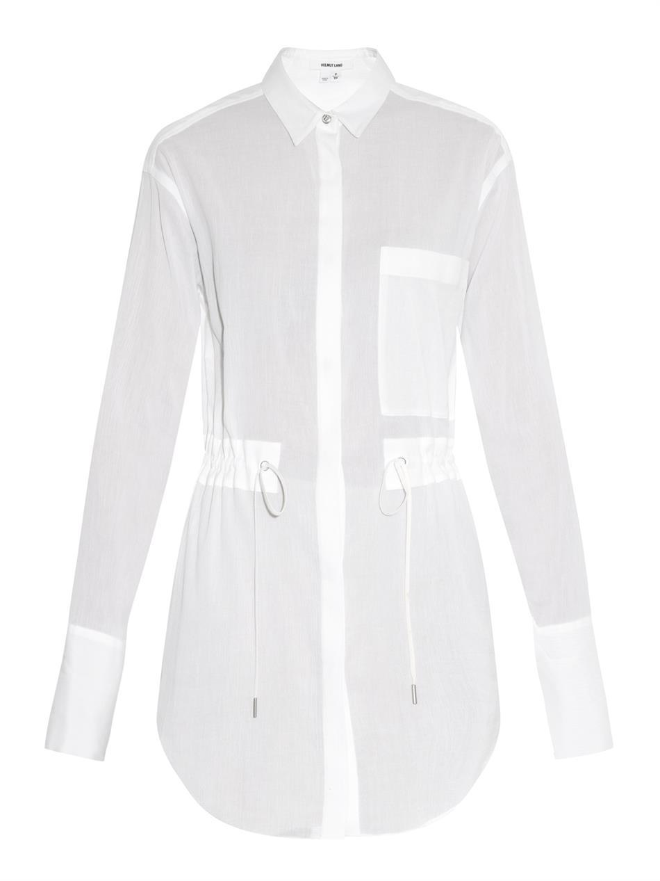 Mist Cotton Shirt - neckline: shirt collar/peter pan/zip with opening; pattern: plain; length: below the bottom; style: shirt; waist detail: belted waist/tie at waist/drawstring; predominant colour: white; occasions: casual, evening, creative work; fibres: cotton - 100%; fit: tailored/fitted; sleeve length: short sleeve; sleeve style: standard; texture group: cotton feel fabrics; pattern type: fabric; season: s/s 2015; wardrobe: basic