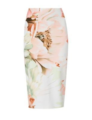 Scuba Floral Pencil Skirt - length: below the knee; style: pencil; fit: tailored/fitted; waist: high rise; secondary colour: pistachio; predominant colour: nude; occasions: evening; fibres: polyester/polyamide - stretch; pattern type: fabric; pattern: florals; texture group: woven light midweight; season: s/s 2015; pattern size: big & busy (bottom); wardrobe: event