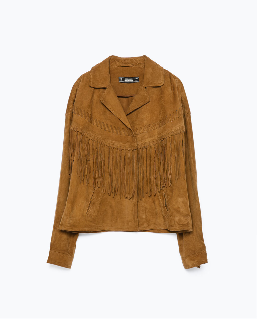 Fringed Suede Jacket - pattern: plain; style: single breasted blazer; collar: standard lapel/rever collar; predominant colour: tan; occasions: casual; length: standard; fit: straight cut (boxy); fibres: leather - 100%; sleeve length: long sleeve; sleeve style: standard; collar break: medium; pattern type: fabric; texture group: suede; embellishment: fringing; season: s/s 2015; wardrobe: highlight; embellishment location: bust
