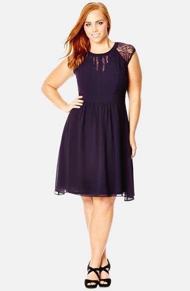 'dark Romance' Lace Detail Dress (Plus Size) - neckline: round neck; sleeve style: capped; pattern: plain; predominant colour: navy; occasions: evening, occasion; length: just above the knee; fit: fitted at waist & bust; style: fit & flare; fibres: polyester/polyamide - 100%; sleeve length: sleeveless; texture group: sheer fabrics/chiffon/organza etc.; pattern type: fabric; embellishment: lace; shoulder detail: sheer at shoulder; season: s/s 2015; wardrobe: event; embellishment location: shoulder