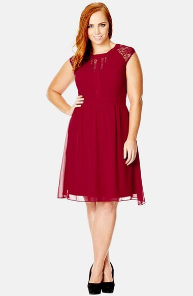 'dark Romance' Lace Detail Dress (Plus Size) - sleeve style: capped; pattern: plain; occasions: evening, occasion; length: on the knee; fit: fitted at waist & bust; style: fit & flare; fibres: polyester/polyamide - 100%; neckline: crew; sleeve length: sleeveless; texture group: sheer fabrics/chiffon/organza etc.; pattern type: fabric; embellishment: lace; predominant colour: raspberry; shoulder detail: sheer at shoulder; season: s/s 2015; wardrobe: event